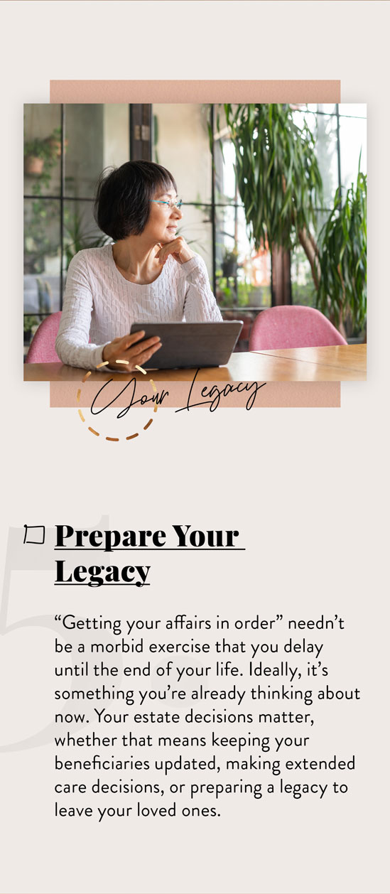 "Prepare Your Legacy. ""Getting your affairs in order"" needn't be a morbid exercise that you delay until the end of your life. Ideally, it's something you're already thinking about now. Your estate decisions matter, whether that means keeping your beneficiaries updated, making long-term care decisions, or preparing a legacy to leave your loved ones."