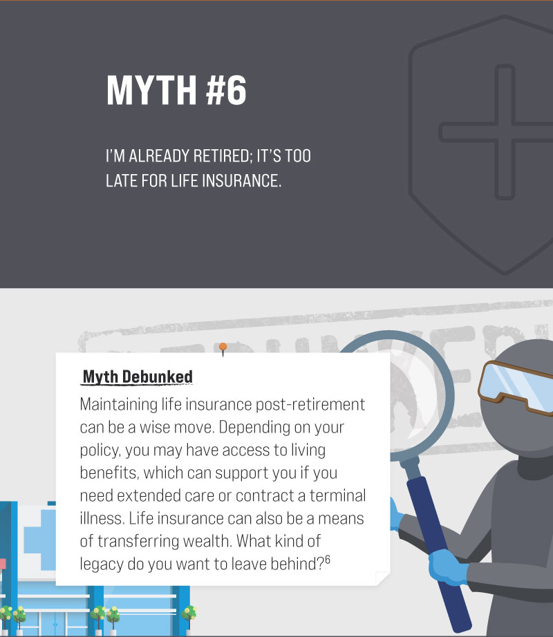 Myth #6: I'm already retired; it's too late for life insurance. Myth Debunked. Maintaining life insurance post-retirement can be a wise move. Depending on your policy, you may have access to living benefits, which can support you if you need extended care or contract a terminal illness. Life insurance can also be a means of transferring wealth. What kind of legacy do you want to leave behind? (6)
