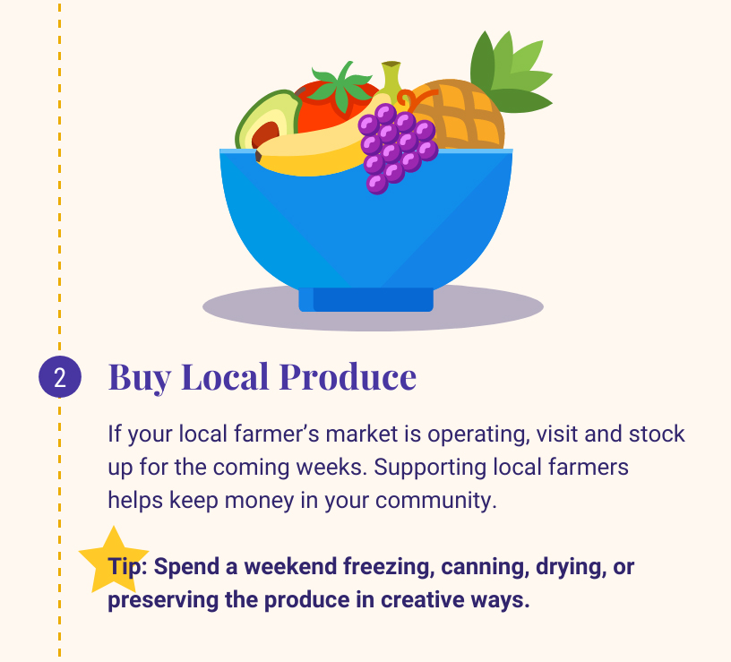 2: Buy Local Produce. If your local farmer's market is operating, visit and stock up for the coming weeks. Supporting local farmers helps keep money in your community. Tip: Spend a weekend freezing, canning, drying, or preserving the produce in creative ways.