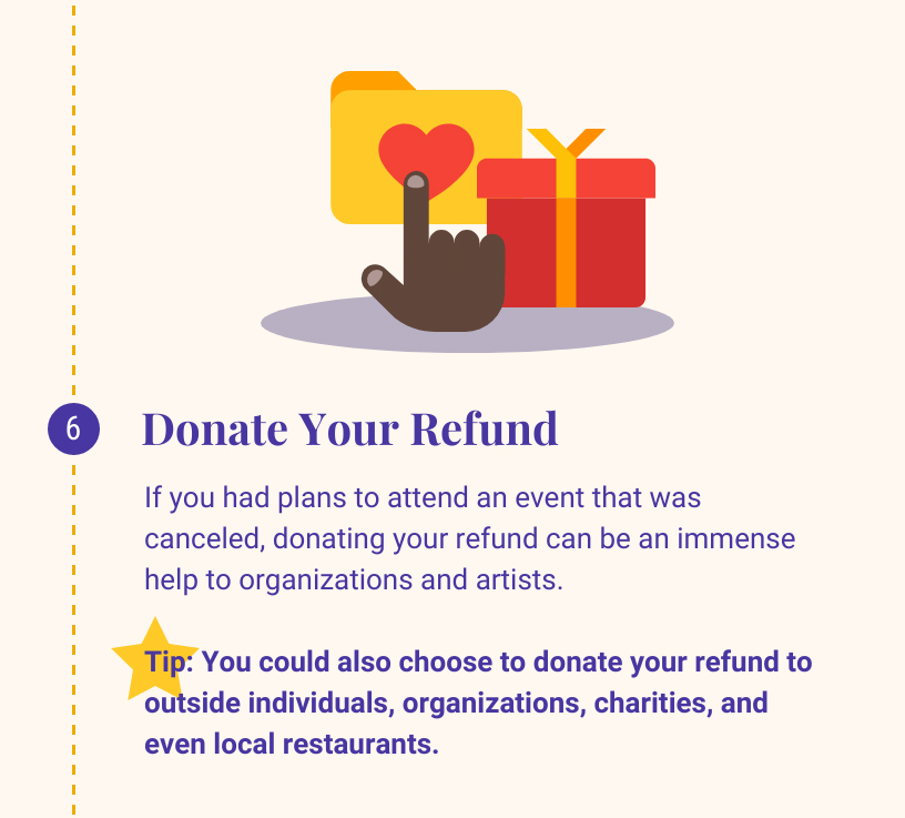 6: Donate Your Refund. If you had plans to attend an event that was canceled, donating your refund can be an immense help to organizations and artists. Tip: You could also choose to donate the refund to outside individuals, organizations, charities, and even local restaurants.
